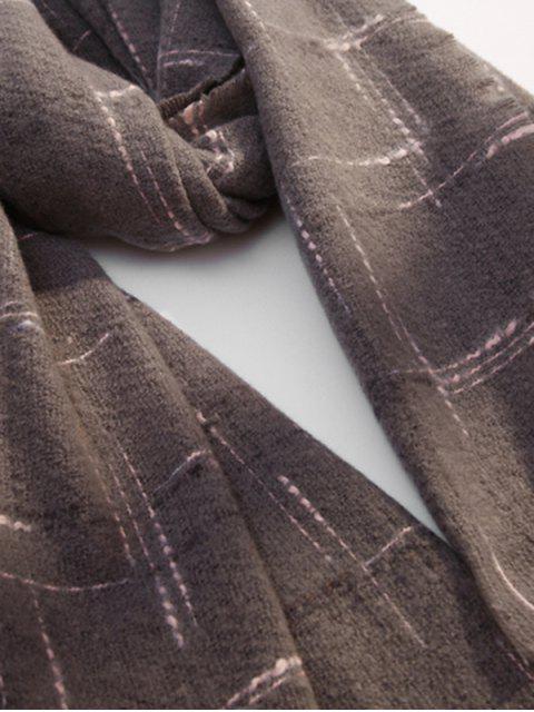 fancy Fringe Plaid Cross Pattern Long Scarf - GRAY  Mobile