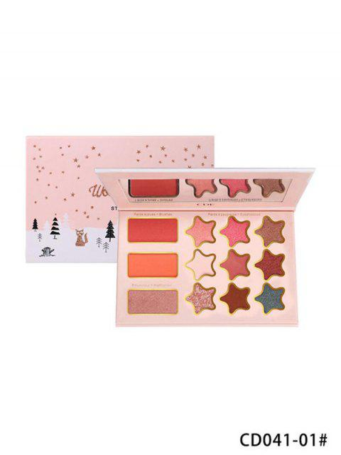 women's 12 Color Star Glitter Foggy Eyeshadow Compact - MULTI-A  Mobile