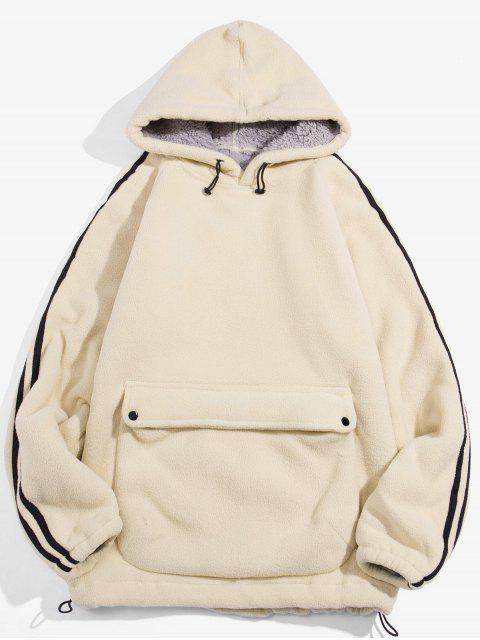 Color sólido diseño del bolsillo con capucha mullida - Blanco Cálido L Mobile