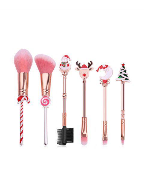 womens 6Pcs Santa Claus Christmas Makeup Brush Set - MULTI-A  Mobile