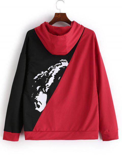Modelo gráfico de Colorblock de lazo con capucha - Rojo L Mobile