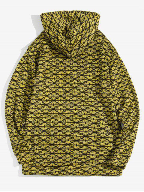 Modelo cruzado de bolsillo canguro con capucha informal - Amarillo XL Mobile