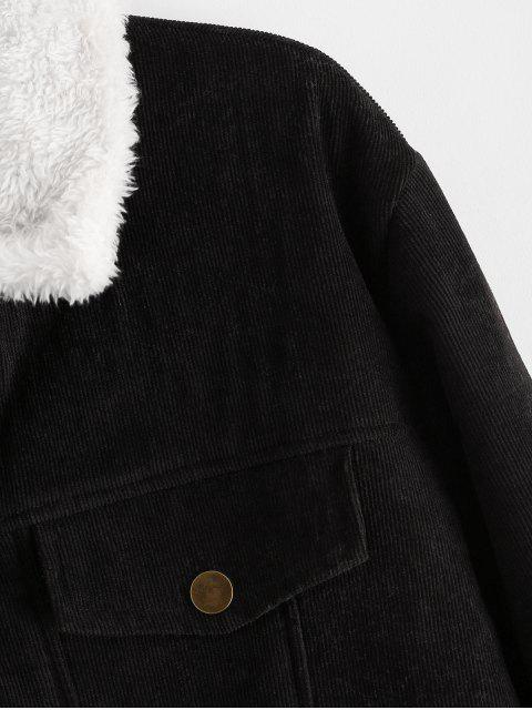 shops Solid Faux Fur Fluffy Cord Jacket - BLACK L Mobile