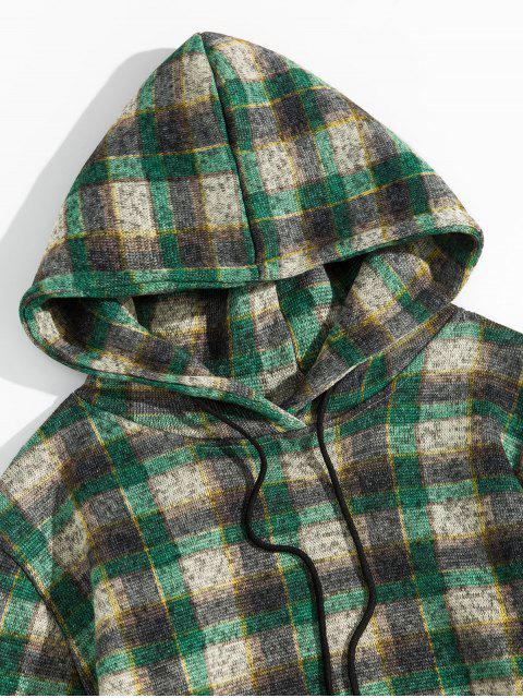 De la tela escocesa del bolsillo de canguro con capucha de punto - Verde de Tortuga Marina 2XL Mobile