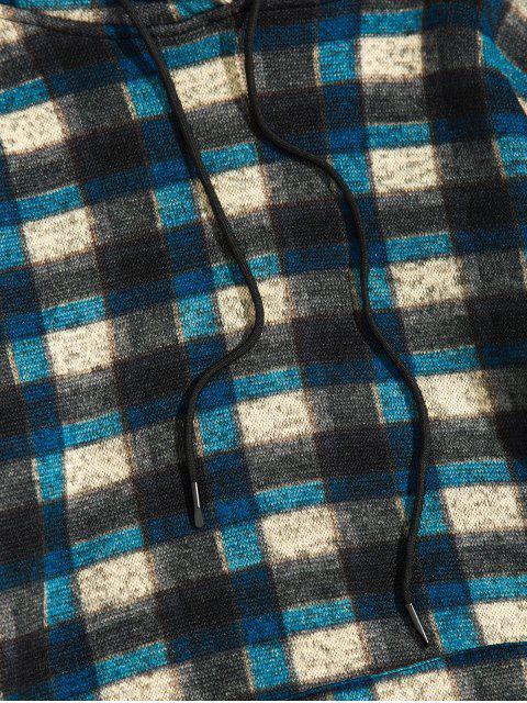 De la tela escocesa del bolsillo de canguro con capucha de punto - Cadetblue S Mobile