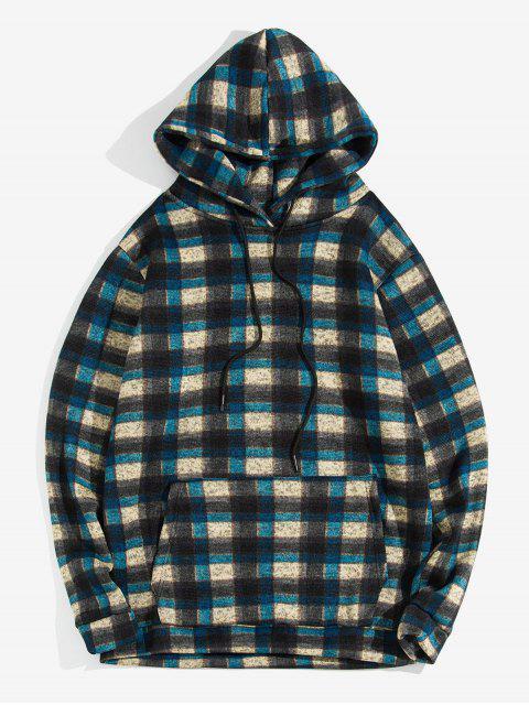 De la tela escocesa del bolsillo de canguro con capucha de punto - Cadetblue M Mobile