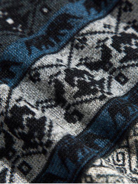 Estampado tribal sudadera con bolsillo canguro - Cadetblue S Mobile