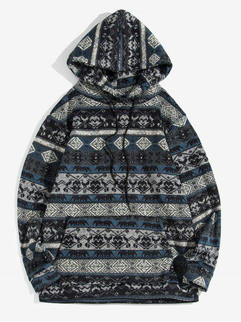 Estampado tribal sudadera con bolsillo canguro - Cadetblue XL Mobile
