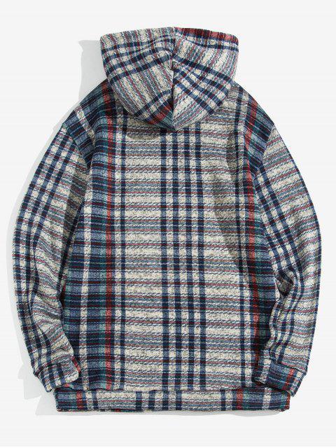 Modelo de la tela escocesa ocasional del bolsillo de Diseño con capucha - Azul M Mobile