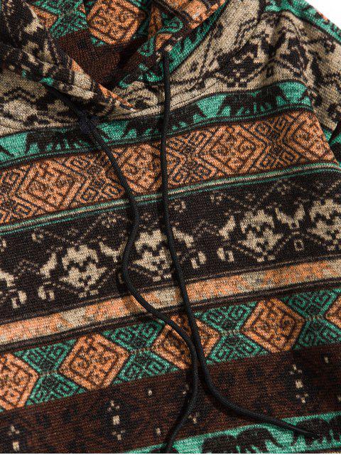 Estampado tribal sudadera con bolsillo canguro - Café 2XL Mobile