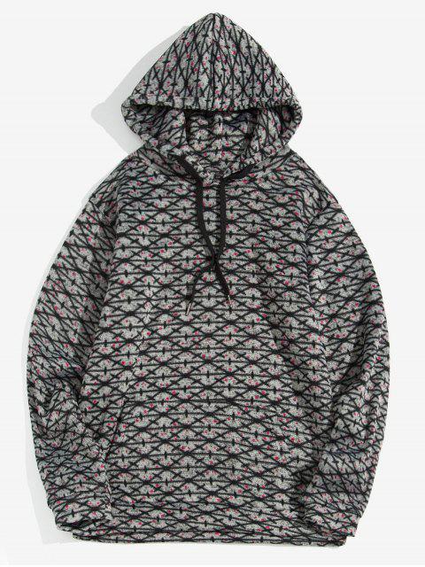 Modelo cruzado de bolsillo canguro con capucha informal - Gris Oscuro XL Mobile