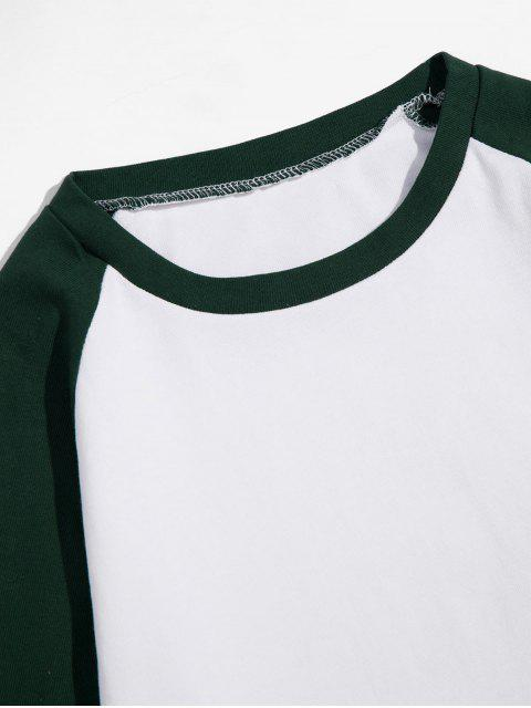 Casual-color de bloqueo manga larga - Mar Verde Mediana XL Mobile