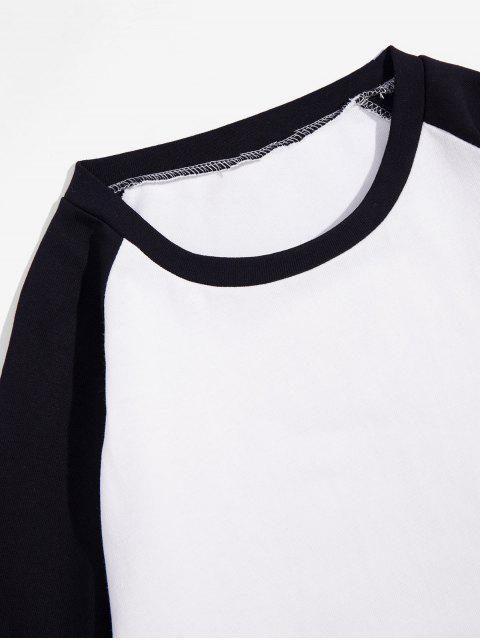 Casual-color de bloqueo manga larga - Negro M Mobile