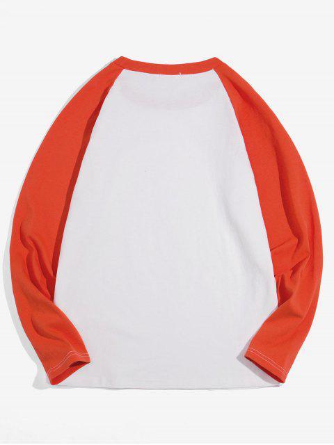 Casual-color de bloqueo manga larga - Naranja XL Mobile