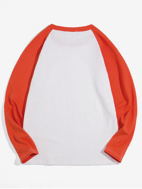 Casual-color de bloqueo manga larga - Naranja 2XL Mobile