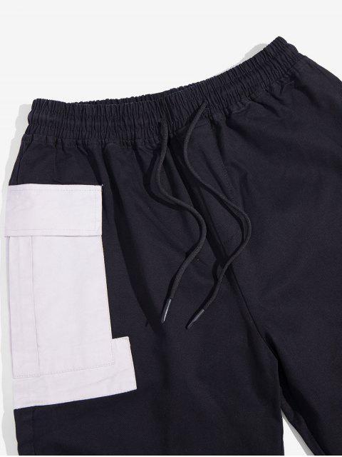Tasche Dekoration Farbe Gespleißte Jogger Hose - Schwarz XL Mobile
