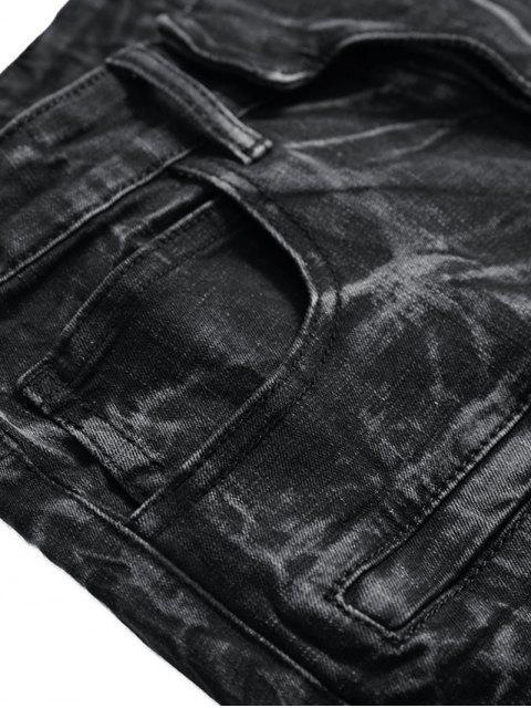 shops Drape Panel Patchwork Long Jeans - BLACK 40 Mobile