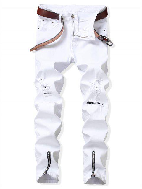 online Zip Hem Long Ripped Denim Pants - WHITE 36 Mobile