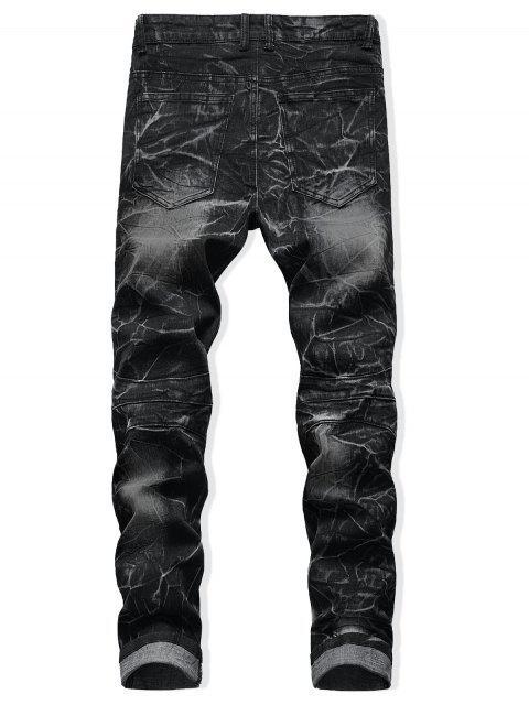 fancy Drape Panel Patchwork Long Jeans - BLACK 34 Mobile