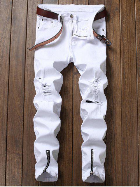 Lange Zerrissene Denim Hosen mit Reißverschluss - Weiß 38 Mobile