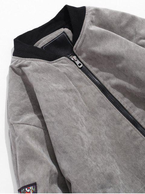 Farbblock Buchstabedruck Flauschige Lässige Jacket - Schlachtschiff Grau M Mobile