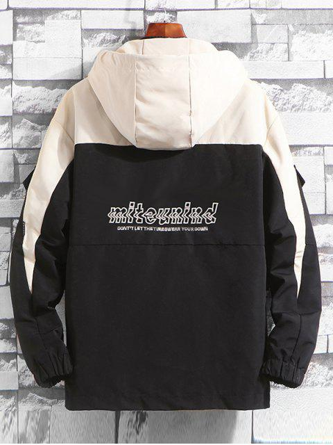 Buchstabe Muster Tasche Verzierte Hoodie Jacke - Schwarz L Mobile