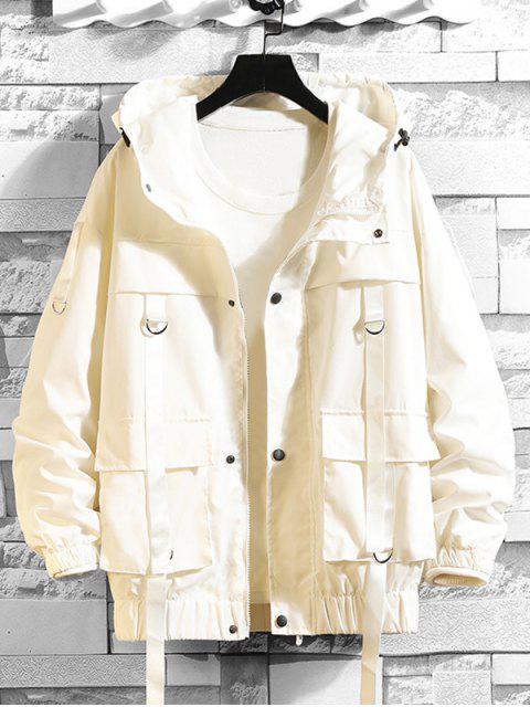 unique Solid Color Pocket Decorated Hooded Jacket - WHITE L Mobile