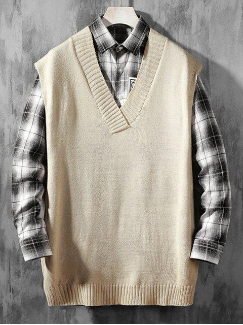 hot Solid Color Casual Sweater Vest - WARM WHITE L Mobile