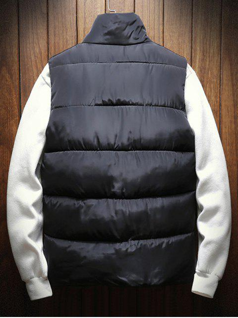 online Solid Color Button Decorated Padded Waistcoat - BLACK XS Mobile