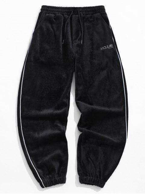 ladies Letter Embroidery Contrast Trim Velour Jogger Pants - BLACK L Mobile