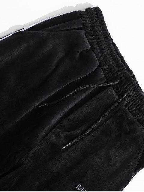 字母刺繡對比色飾邊絲絨褲慢跑者 - 黑色 L Mobile