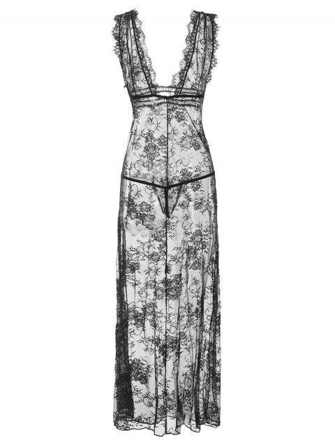Vestido Interior de Encaje Transparente de Pestaña Larga - Negro Talla única Mobile