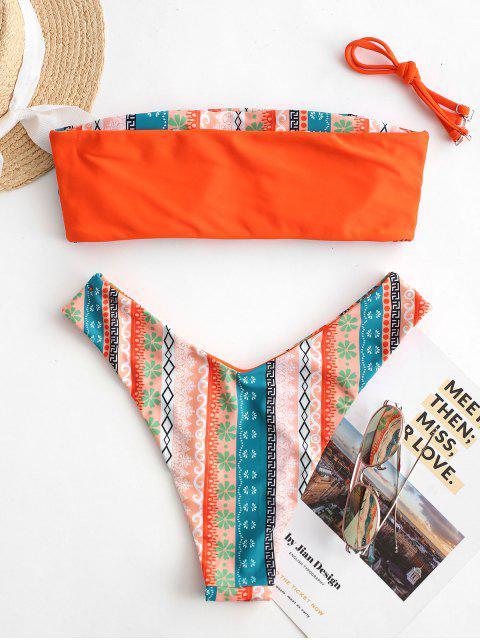 ZAFUL Maillot de Bain Bikini Réversible Ethnique Imprimé à Coupe Haute - Orange S Mobile