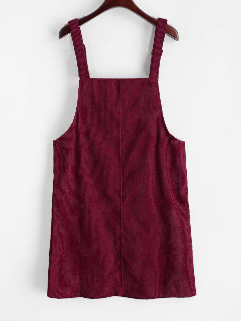 fashion Letter Patched Flap Pocket Corduroy Overalls Dress - FIREBRICK XL Mobile