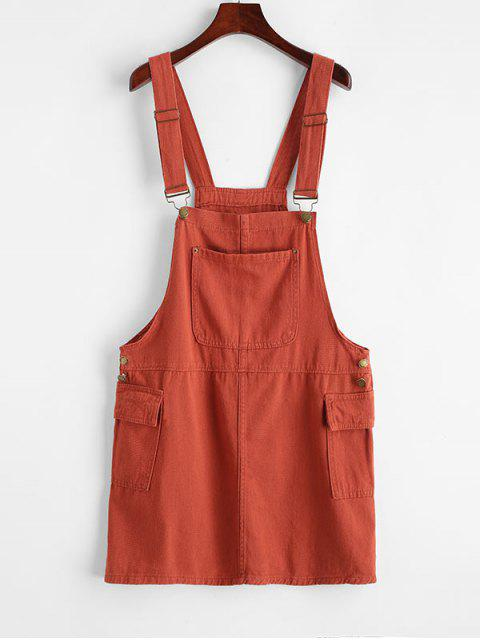 chic Buttoned Flap Pockets Casual Overalls Dress - LIGHT BROWN M Mobile
