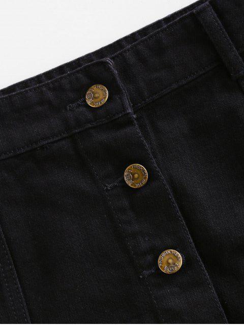 Solide Knopf Eine Linie Minirock - Schwarz XL Mobile