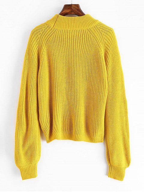 online ZAFUL Plain Mock Neck Raglan Sleeve Jumper Sweater - GOLDEN BROWN ONE SIZE Mobile