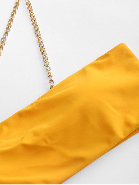 ZAFUL鏈高切單肩比基尼泳裝 - 黃色 S Mobile