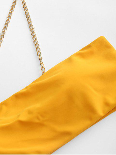 ZAFUL鏈高切單肩比基尼泳裝 - 黃色 M Mobile