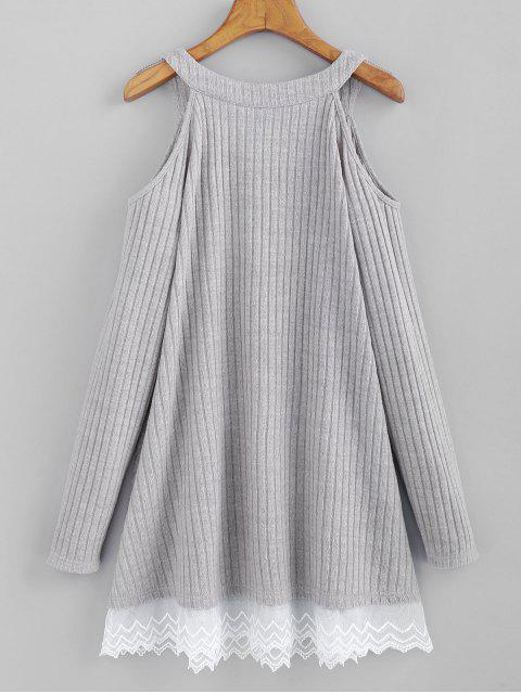 ZAFUL Robe Tricotée Côtelée à Epaule Dénudée à Ourlet en Dentelle - Gris Clair M Mobile