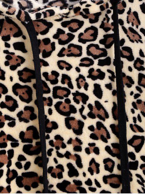 豹紋抽繩前口袋蓬鬆夾克 - 豹 XL Mobile