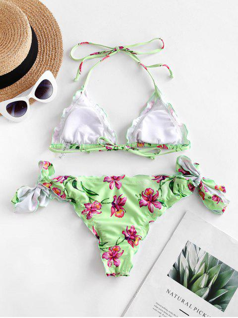 ZAFUL Bikini Badeanzug mit Seitlicher Neckholder und Kopfsalatbesatz - Hellgrün M Mobile