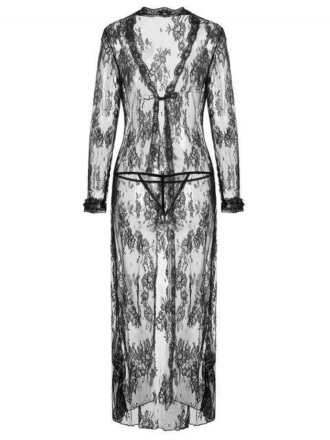 unique Knotted Lace Maxi Nightgown Set - BLACK M Mobile