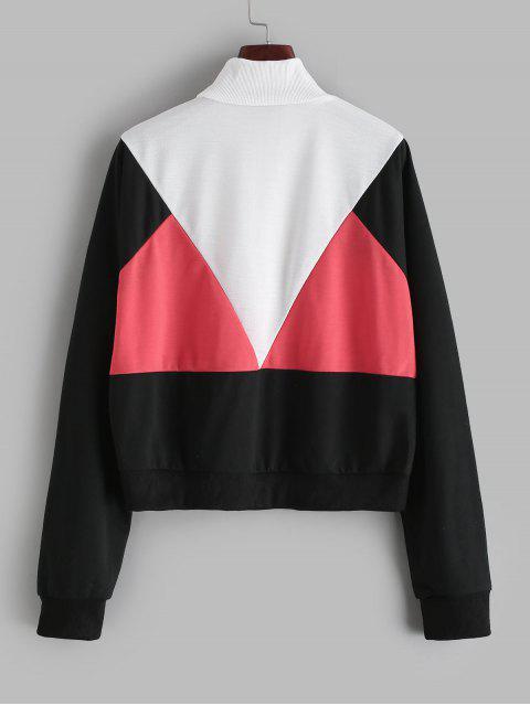 Farbe-blocking Pull Ring Zip Batwing Sweatshirt - Multi S Mobile