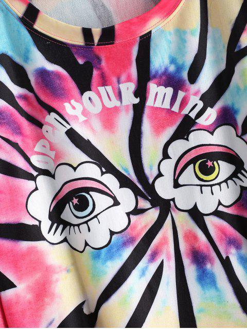 Tie Dye Eye Graphic Tropfen Schulter Sweatshirt - Multi XL Mobile