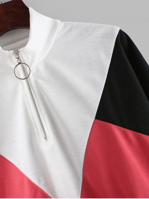 buy Color-blocking Pull Ring Zip Batwing Sweatshirt - MULTI M Mobile