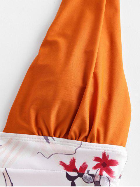 ZAFUL floral con pliegues de una sola pieza del traje de baño - Sandy Brown L Mobile