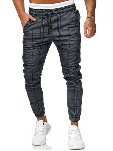 shops Plaid Print Drawstring Jogger Pants - DARK GRAY M Mobile