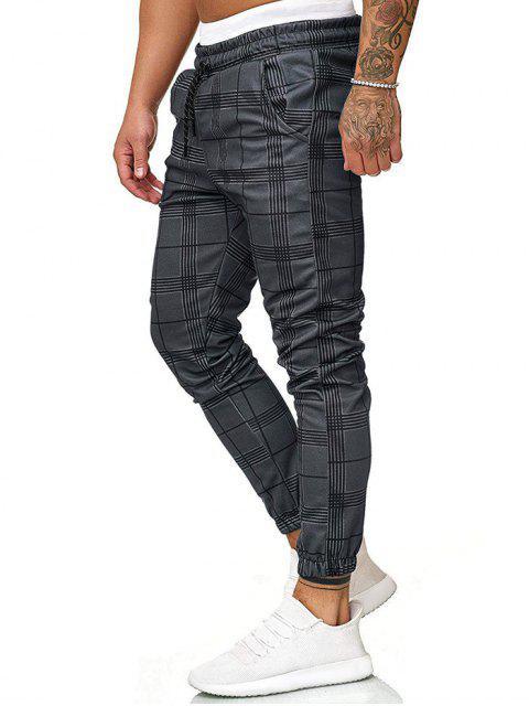 格紋打印抽繩短褲慢跑者 - 深灰色 XL Mobile