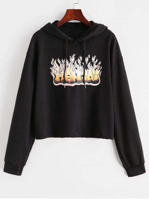 shop Flame Graphic Drop Shoulder Drawstring Hoodie - BLACK M Mobile